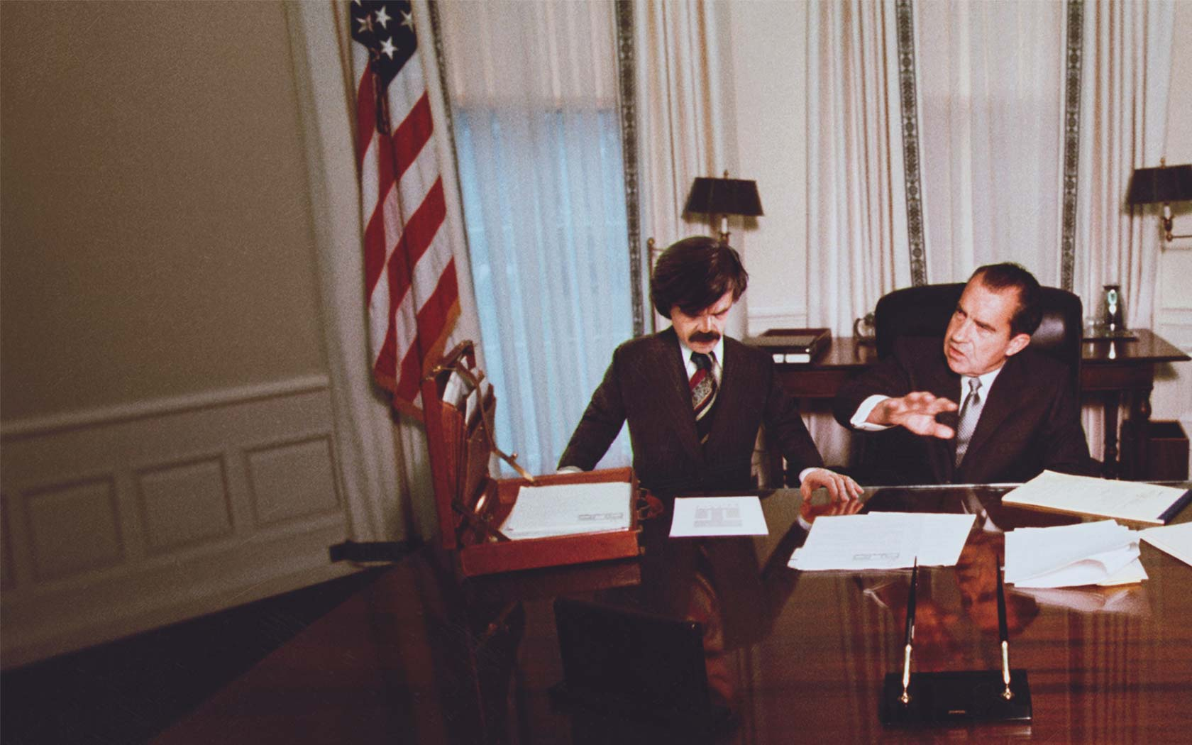 "Bolivar Trask meets with U.S. President Nixon in ""X-Men: Days of Future Past"""