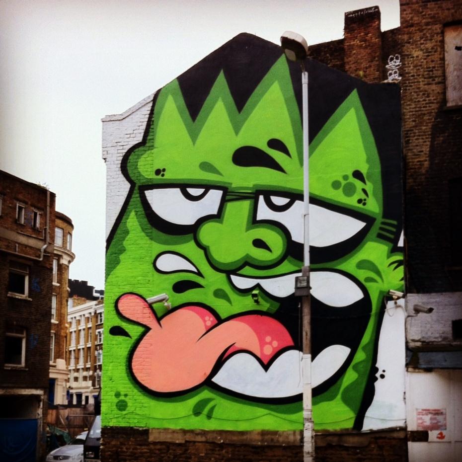 Frankenstein-like mural in Shoreditch, East London