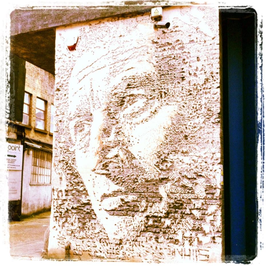 Piece by Vhils in Hewett Street, London