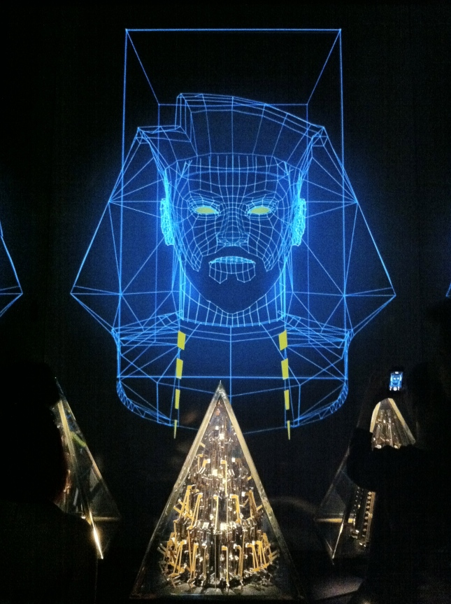 """Pyramidi"" project featuring a dedicated song by Will.i.am, on display at Barbican Centre for the ""Digital Revolution"" exhibition."