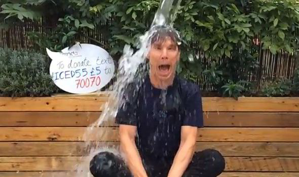 Actor Benedict Cumberbatch, aka Sherlock Holmes and long time ambassador for the Motor Neurone Disease Association, accepts the Ice Bucket Challenge.