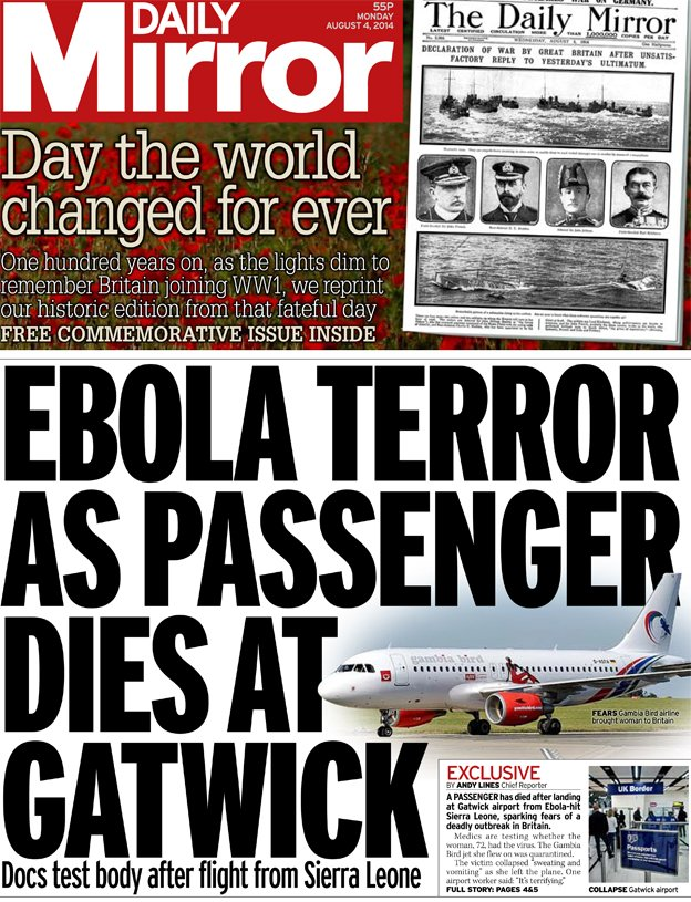 """""""The Daily Mirror"""", front page 4 August 2014."""
