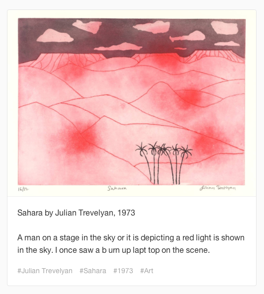 "Novice Art Blogger describes ""Sahara"" by Julian Trevelyan."