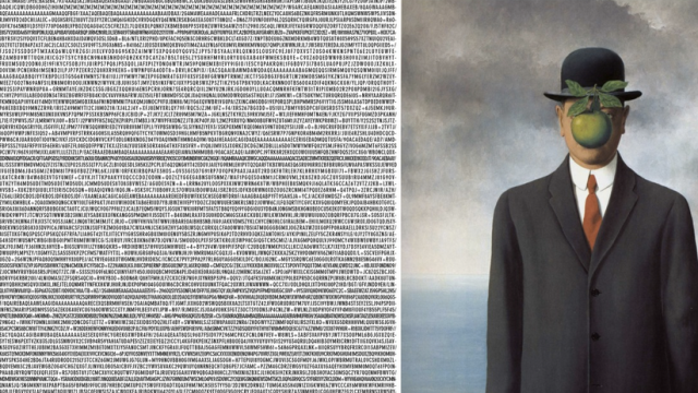 """Yousuke Ozawa's reinterpretation of """"The Son of Man"""" by René Magritte."""