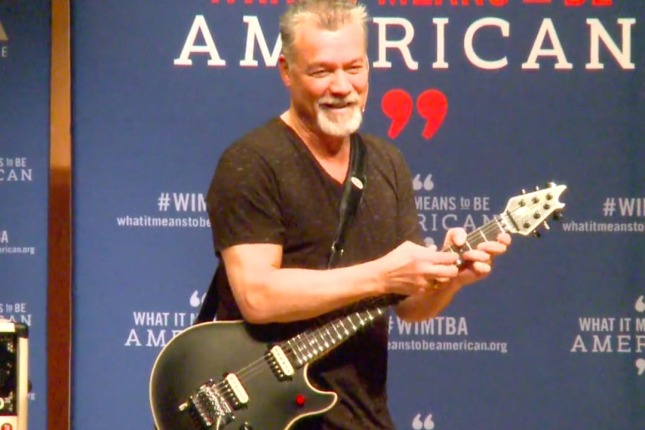 "Eddie Van Halen demonstrating his 2 hands techniques during ""What it means to be American""."