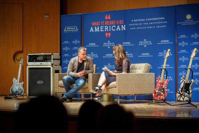 """Eddie Van Halen on stage at """"What it means to be American""""."""