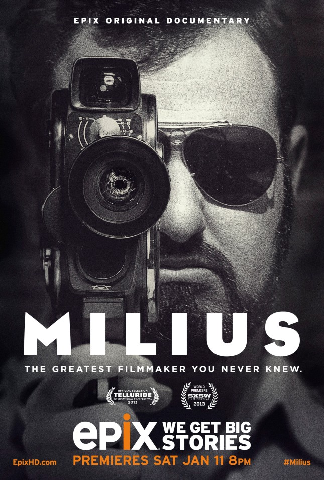 "Poster for the documentary ""Milius"" directed by Zak Charles Knutson and Joey Figueroa."