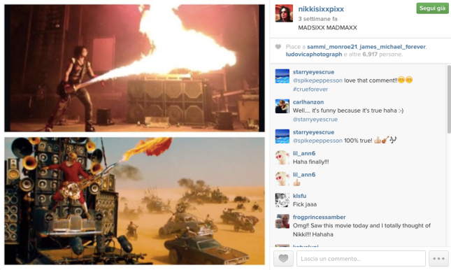 "Nikki Sixx shows his appreciation for ""Mad Max""."